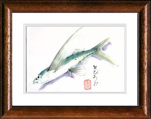 A4bw 魚の絵 トビウオ by 田熊 順